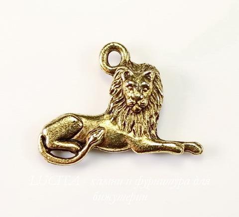 """Подвеска Quest Beads """"Лев"""" (цвет-античное золото) 22х17 мм"""
