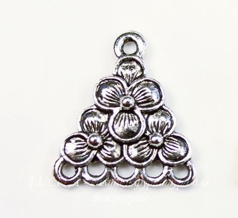 "Коннектор Quest Beads ""Фиалки"" (1-5) 19х17 мм (цвет-античное серебро)"
