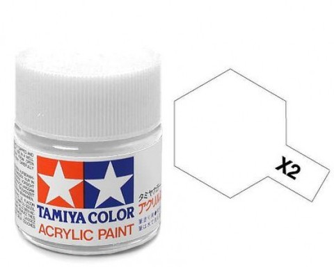 X-2 Краска Tamiya, Белый Глянцевый (White), акрил 10мл