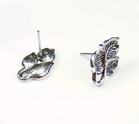"Пуссеты - гвоздики Quest Beads ""Три листика"" 17х11 мм (цвет-античное серебро)(без заглушек), пара ()"