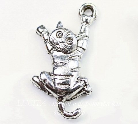 """Подвеска Quest Beads """"Полосатый кот"""" (цвет-античное серебро) 22х11 мм"""