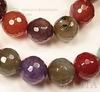 """Бусина Агат """"Крэкл"""", шарик с огранкой, """"Серо-красно-коричневый микс"""", 10 мм, нить ()"""