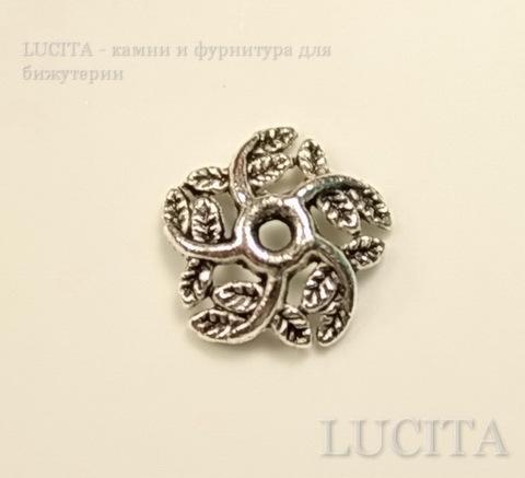"""Шапочка для бусины """"Завитки-листики"""" (цвет - античное серебро) 10х3 мм, 10 штук ()"""