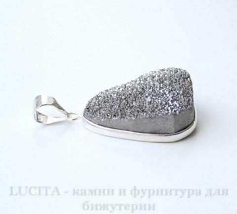 Подвеска Кварц в рамке (цвет - античное серебро) 34,7х23,4х12 мм №19 ()