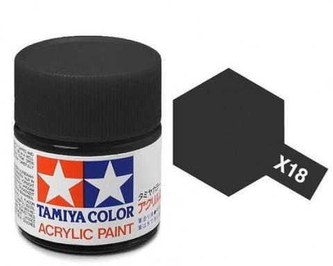 X-18 Краска Tamiya, Черный Полуматовый (Semi Gloss Black), акрил 10мл