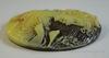 """Камея """"Девушка с птичкой"""" цвета слоновой кости  на коричневом фоне 30х40 мм ()"""