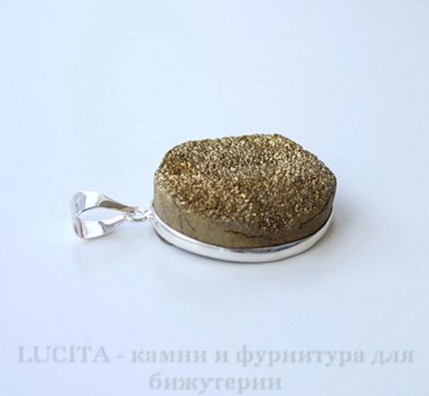 Подвеска Кварц в рамке (цвет - античное серебро) 35х25х10,5 мм №17 ()