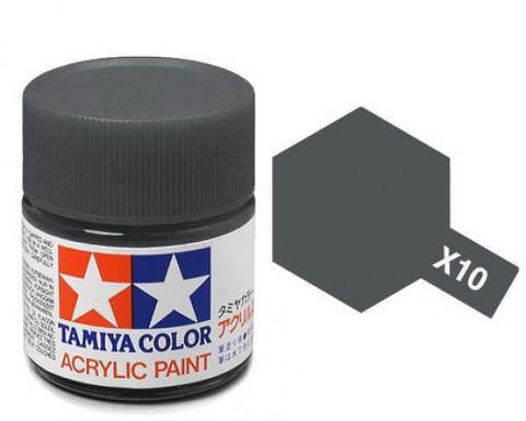 X-10 Краска Tamiya, Пушечный Металл Глянцевый (Gun Metal), акрил 10мл