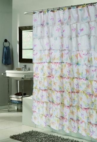 Элитная шторка для ванной Carmen Бабочки от Carnation Home Fashions