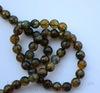 """Бусина Агат """"Вены Дракона"""", шарик с огранкой, цвет - оливковый, 8 мм, нить ()"""