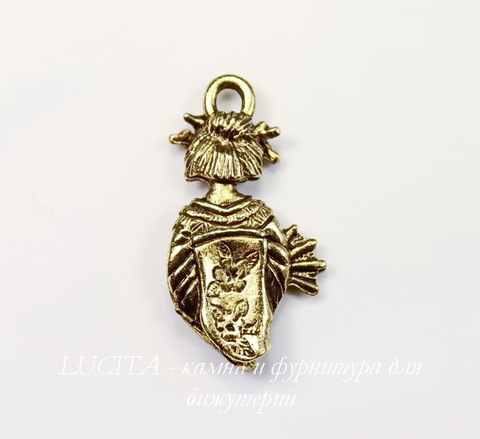 "Подвеска Quest Beads ""Гейша"" (цвет-античное золото) 23х12 мм"