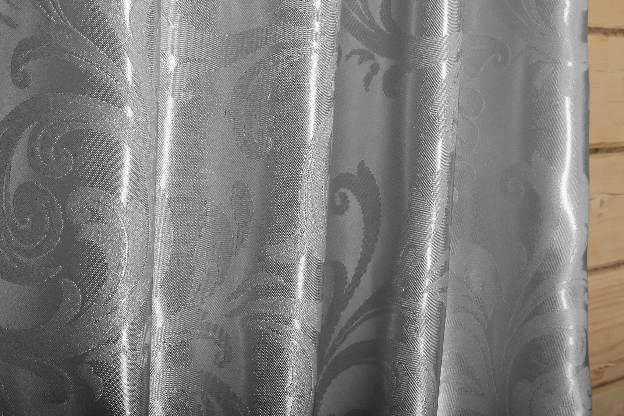 Валенсия (стальной) .Готовая штора блэкаут жаккард с орнаментом в виде вензеля из шенила.