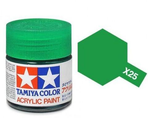 X-25 Краска Tamiya, Прозрачный Зеленый (Clear Green), акрил 10мл