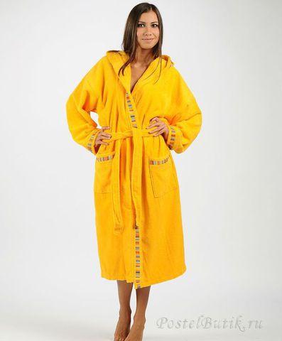 Элитный халат махровый Yupi желтый от Caleffi