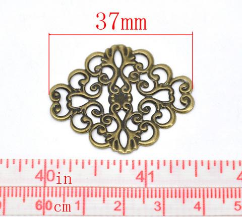 Филигрань 37х30 мм (цвет - античная бронза) ()