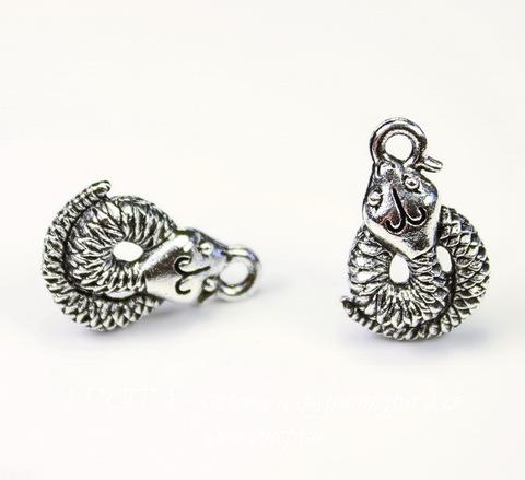 """Пуссеты - гвоздики Quest Beads """"Змеи"""" 17х11 мм (цвет-античное серебро)(без заглушек), пара"""