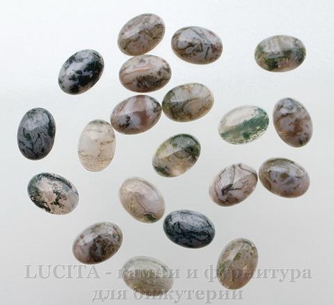 Кабошон овальный Агат Моховой цвет - бело-зеленый 18х13х6 мм №1 ()