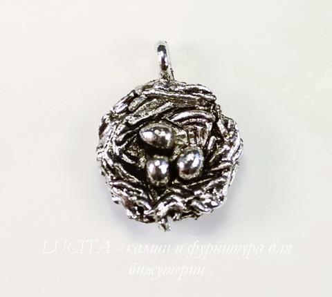 """Подвеска Quest Beads """"Гнездо"""" (цвет-античное серебро) 19х15 мм"""