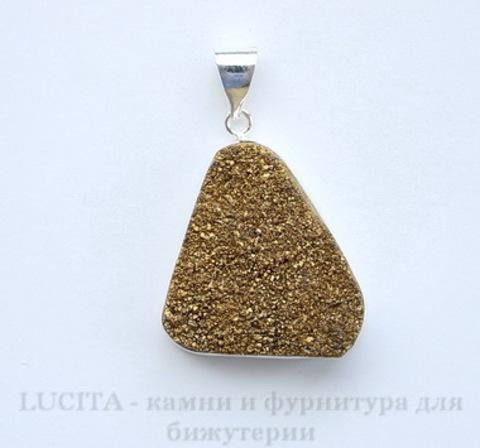 Подвеска Кварц в рамке (цвет - античное серебро) 37х28х11 мм №7 ()