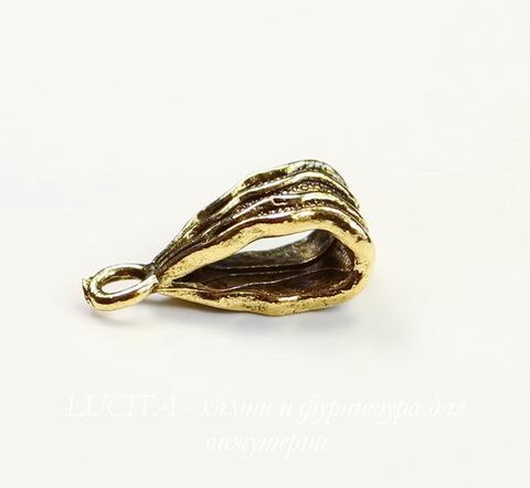 """Бейл Quest Beads """"Волнистый"""" (цвет-античное золото) 16х8 мм"""