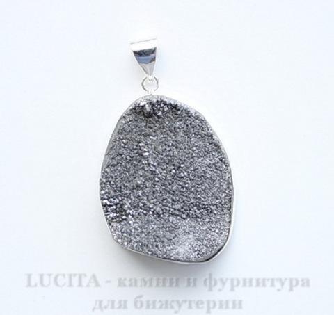 Подвеска Кварц в рамке (цвет - античное серебро) 42х29х12,5 мм №4 ()