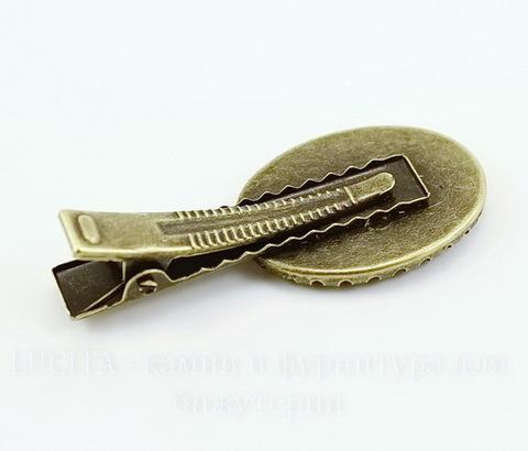 Основа для заколки с сеттингом для кабошона 24,5х17 мм, 46х21 мм (цвет - античная бронза)