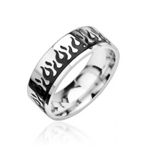 Мужское кольцо с чёрным огнём из нержавеющей ювелирной медицинской хирургической стали 316L SPIKES R8019-K
