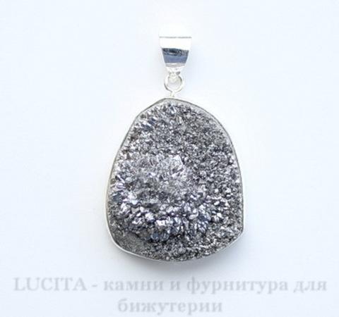 Подвеска Кварц в рамке (цвет - античное серебро) 35,5х27,2х15 мм №9 ()
