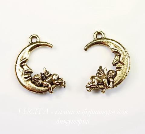 "Подвеска Quest Beads ""Ангелок на луне"" (цвет-античное золото) 22х16 мм ()"