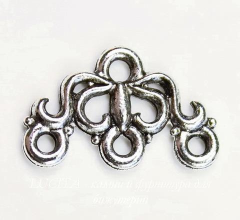 "Коннектор (1-3) Quest Beads ""Маркиза"" (цвет-античное серебро) 17х11 мм"