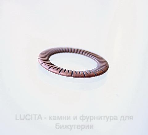 """Коннектор - кольцо """"Полосатое"""" 24 мм (цвет - античная медь) ()"""