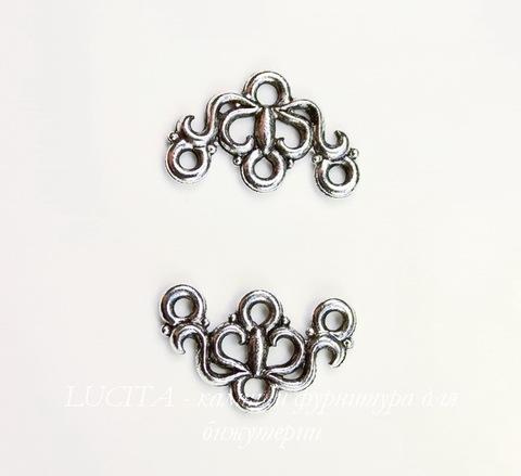 "Коннектор Quest Beads ""Маркиза"" (1-3) 17х11 мм (цвет-античное серебро)"