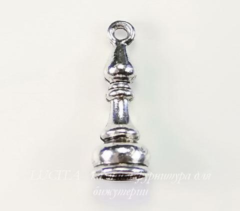 """Подвеска Quest Beads в виде шахматной фигуры """"Слон"""" 3D (цвет-античное серебро) 20х8 мм"""