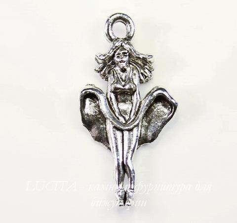 "Подвеска Quest Beads ""Кинозвезда"" (цвет-античное серебро) 26х13 мм"