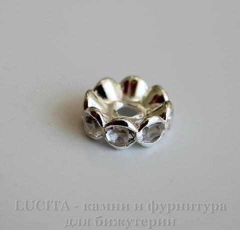 Бусина - рондель 10х4 мм с прозрачными фианитами (цвет - серебро), 5 штук ()