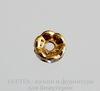 Бусина - рондель 6х3 мм с прозрачными фианитами (цвет - античное золото), 5 штук ()