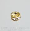 Бусина - рондель 6х3 мм с прозрачными фианитами (цвет - золото), 5 штук
