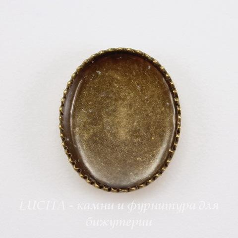 Сеттинг - основа для камеи или кабошона 10х8 мм (оксид латуни)