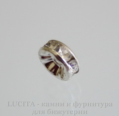 Бусина - рондель 8х3,5 мм с прозрачными фианитами (цвет - серебро), 5 штук