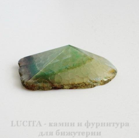 Подвеска Агат (цвет - прозрачно-зеленый) 48,2х36,9х12,8 мм №33