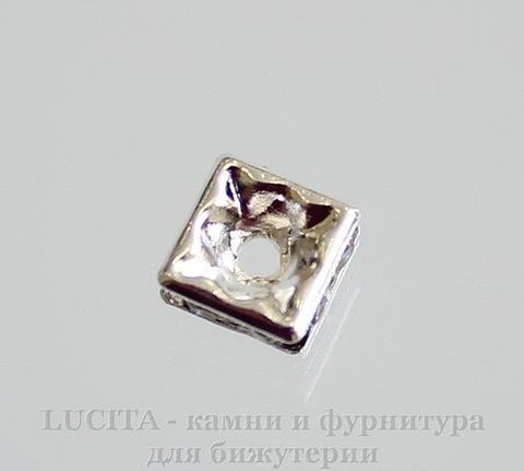 Бусина - рондель квадратная 6х6х3 мм с прозрачными фианитами (цвет - серебро), 5 штук