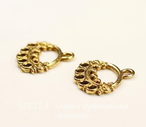 """Коннектор (1-5) Quest Beads """"Ажурный овал"""" (цвет-античное золото) 17х16 мм ()"""