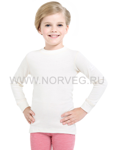 Футболка Norveg Soft  детская с длинным рукавом белая