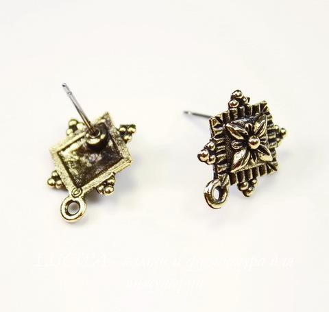"""Пуссеты - гвоздики Quest Beads """"Примула"""" 16х12 мм (цвет-античное золото)(без заглушек), пара ()"""