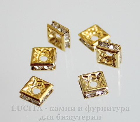Бусина - рондель квадратная 6х6х3 мм с прозрачными фианитами (цвет - золото), 5 штук