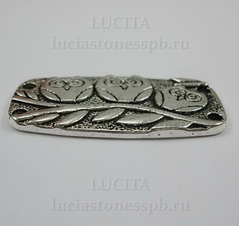 """Коннектор """"Три совы"""" (2-2) 37х20 мм (цвет - античное серебро) ()"""
