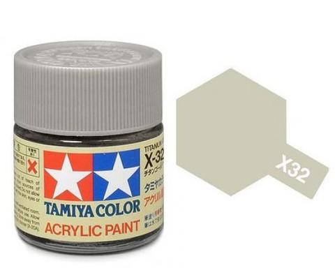 X-32 Краска Tamiya, Серебряный Титан (Titanium Silver), акрил 10мл