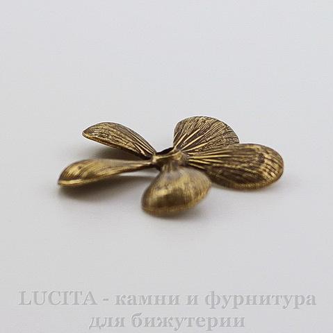 """Винтажный декоративный элемент """"Цветочек"""" 19 мм (оксид латуни)"""