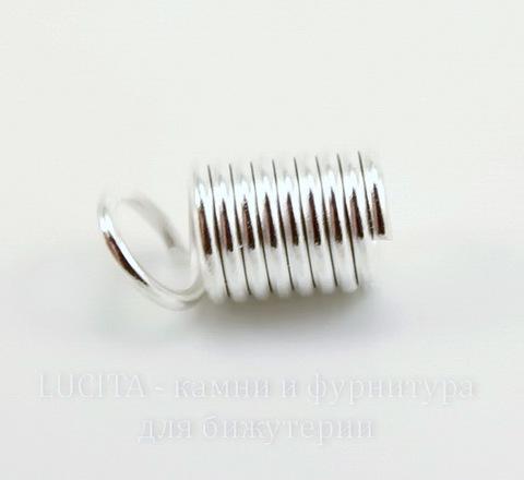 Пружинка для шнура (цвет - серебро) 9х5 мм, 10 штук ()