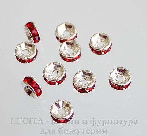 Бусина - рондель с красными фианитами (цвет - серебро) 6х3 мм, 5 штук ()